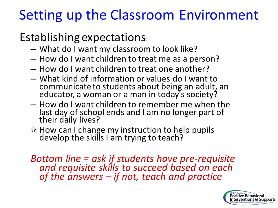Setting up the Classroom Environment