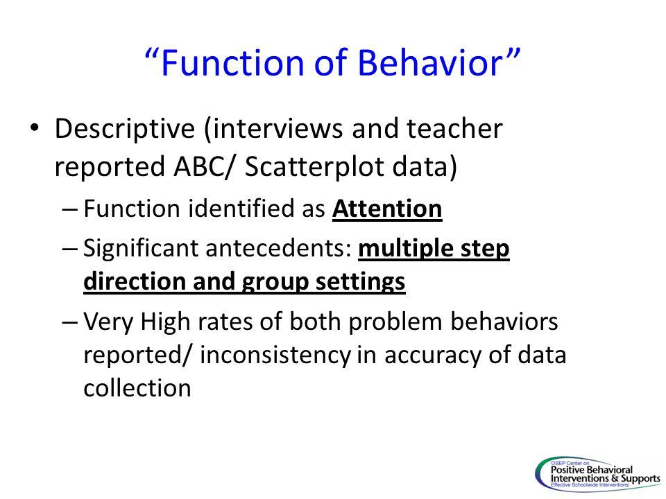 Function of Behavior