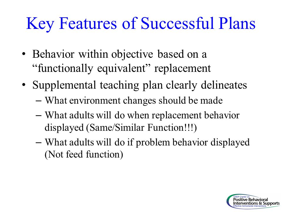 Key Features of Successful Plans