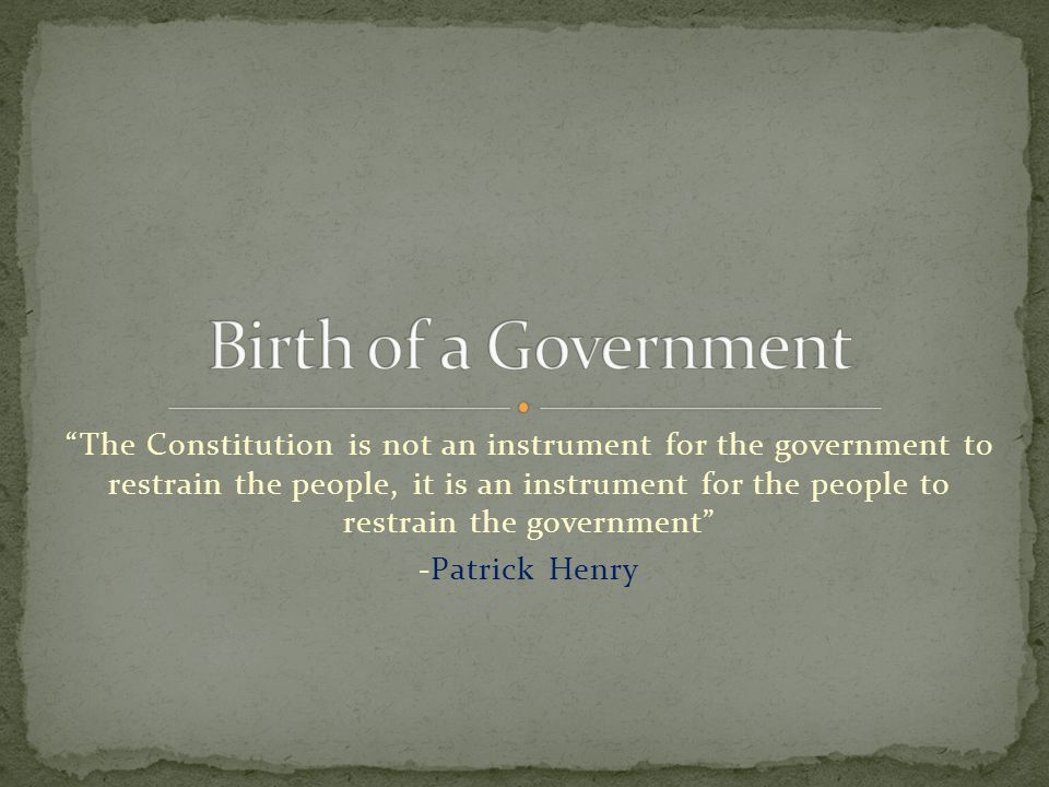 Birth of a Government