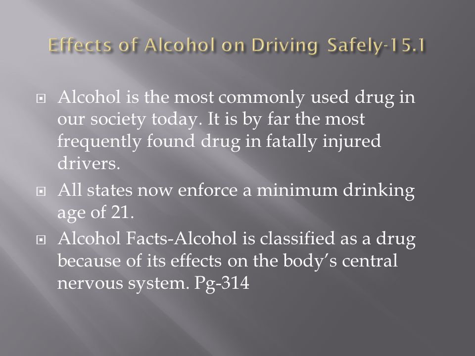Effects of Alcohol on Driving Safely-15.1