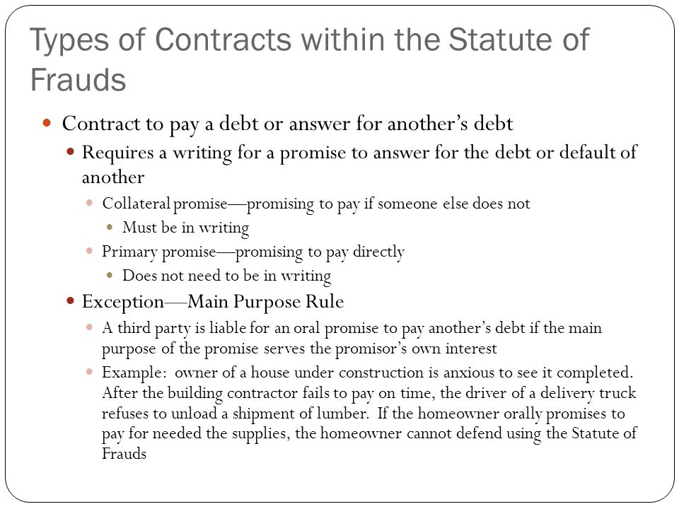 The Statute of Frauds and Contract Law
