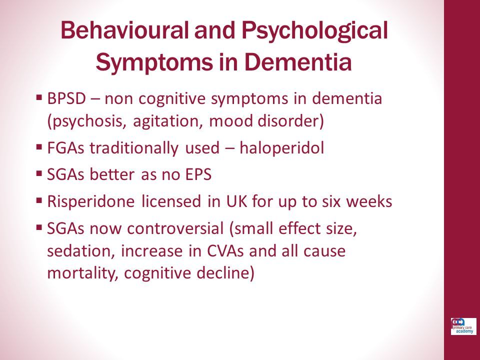 Behavioural and Psychological Symptoms in Dementia