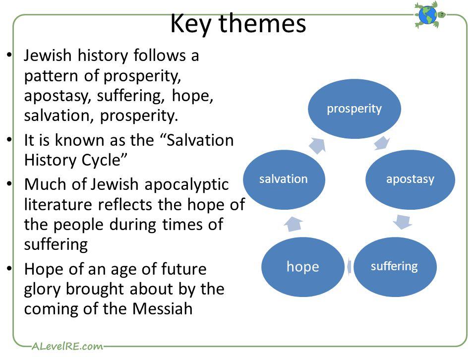 Key themes Jewish history follows a pattern of prosperity, apostasy, suffering, hope, salvation, prosperity.