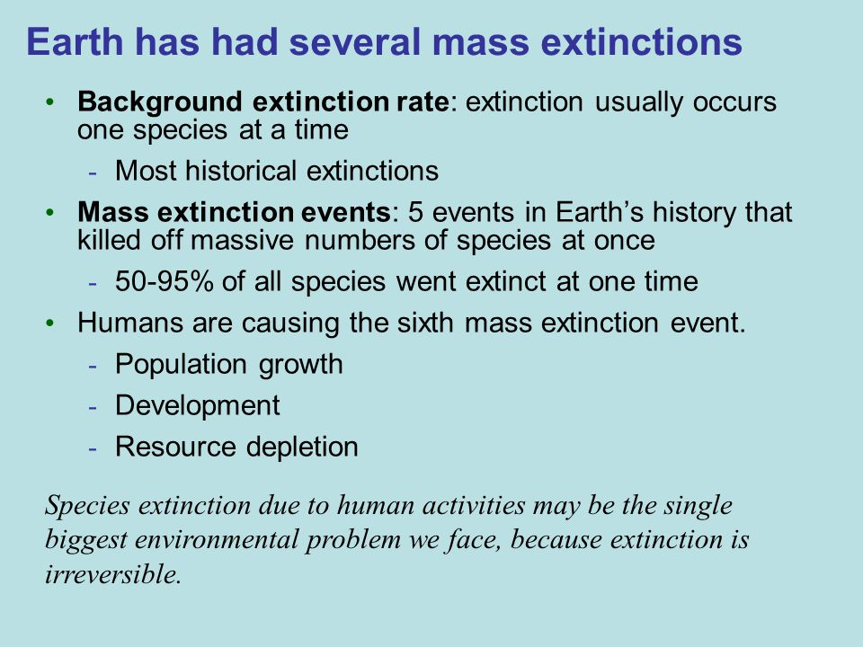 Earth has had several mass extinctions