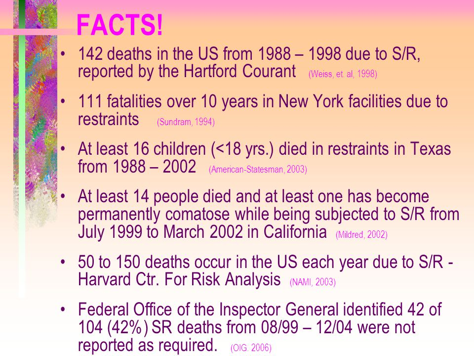 FACTS! 142 deaths in the US from 1988 – 1998 due to S/R, reported by the Hartford Courant (Weiss, et. al, 1998)