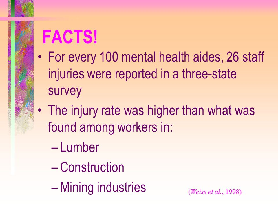 FACTS! For every 100 mental health aides, 26 staff injuries were reported in a three-state survey.