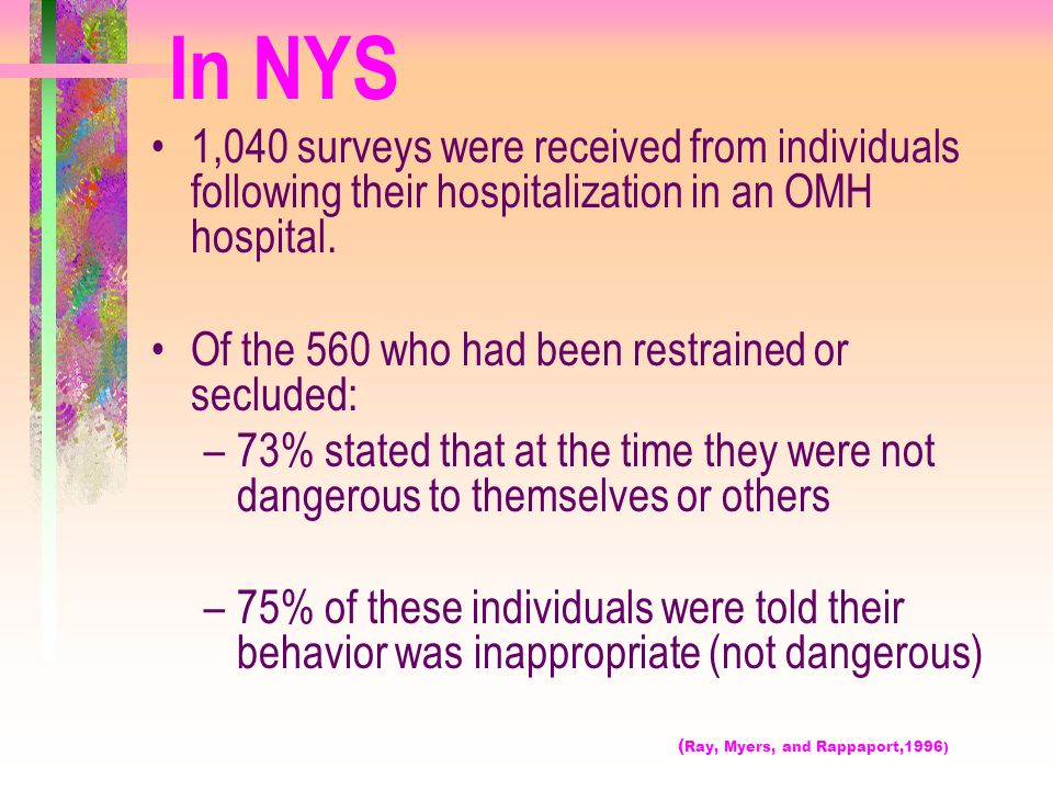 In NYS 1,040 surveys were received from individuals following their hospitalization in an OMH hospital.
