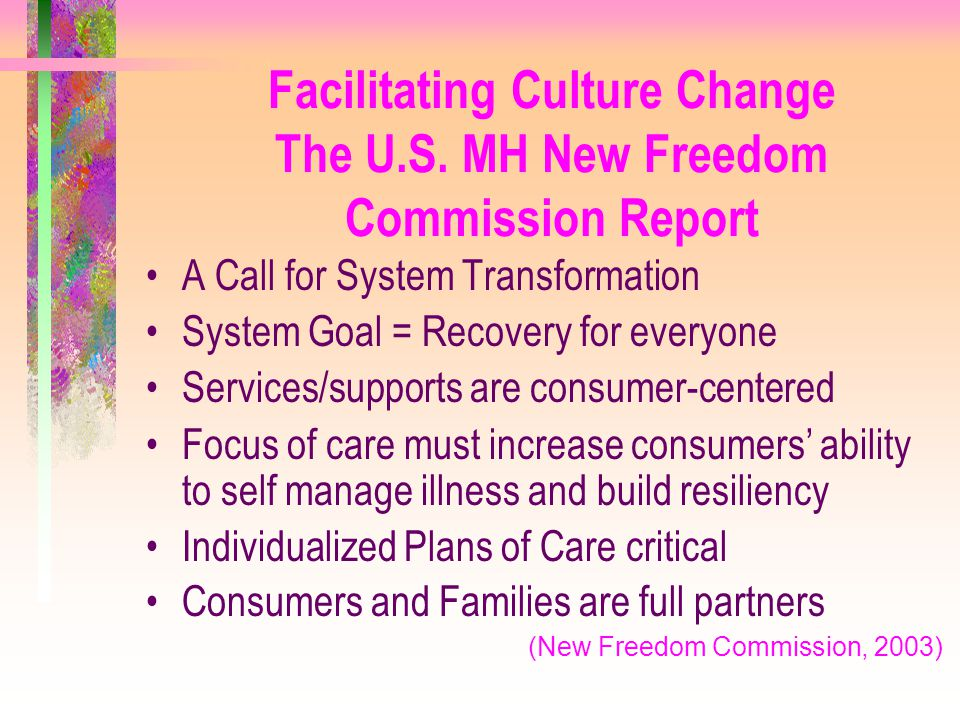 Facilitating Culture Change The U.S. MH New Freedom Commission Report