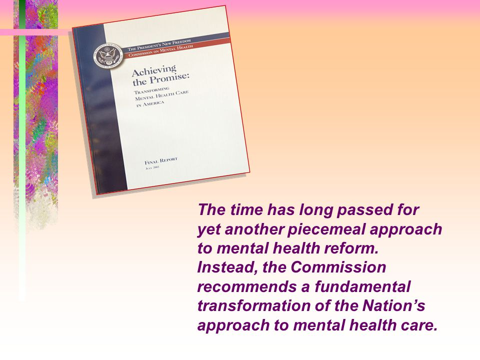 The time has long passed for yet another piecemeal approach to mental health reform. Instead, the Commission recommends a fundamental transformation of the Nation's approach to mental health care.