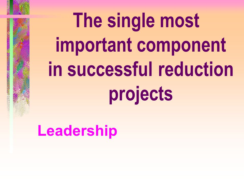 The single most important component in successful reduction projects