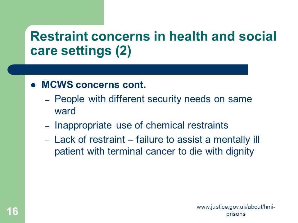 Restraint concerns in health and social care settings (2)
