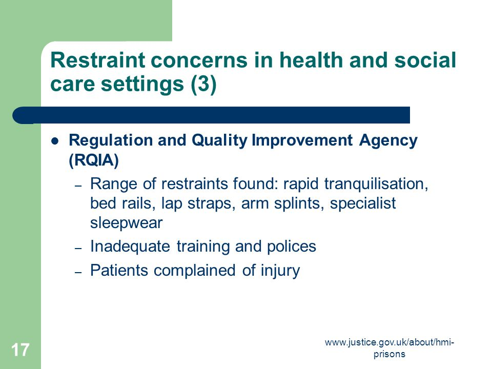 Restraint concerns in health and social care settings (3)