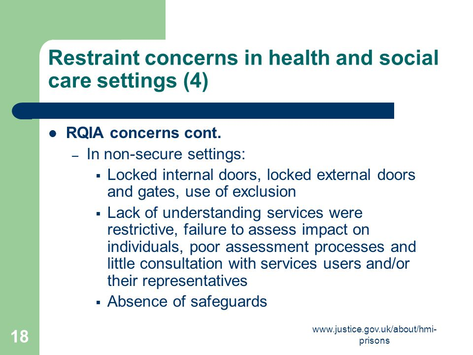 Restraint concerns in health and social care settings (4)