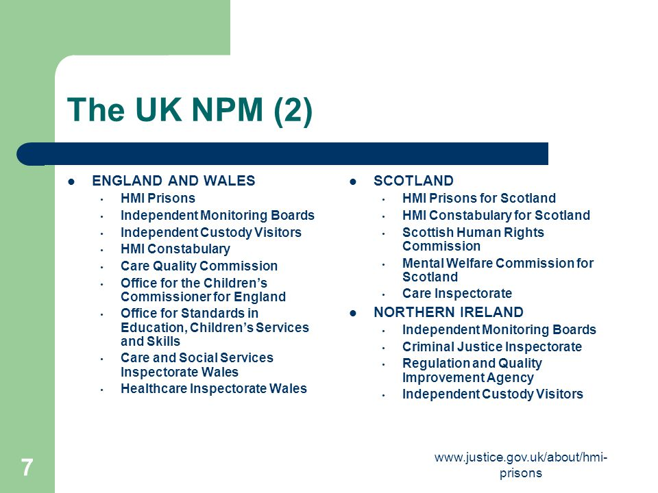 The UK NPM (2) ENGLAND AND WALES SCOTLAND NORTHERN IRELAND HMI Prisons