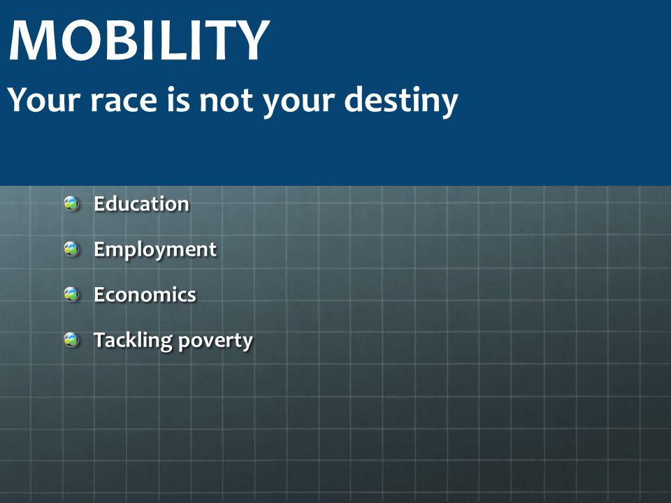 MOBILITY Your race is not your destiny Education Employment Economics