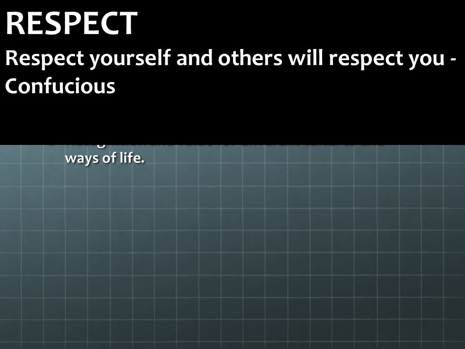 RESPECT Respect yourself and others will respect you - Confucious