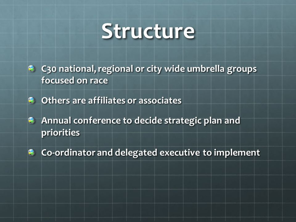 Structure C30 national, regional or city wide umbrella groups focused on race. Others are affiliates or associates.