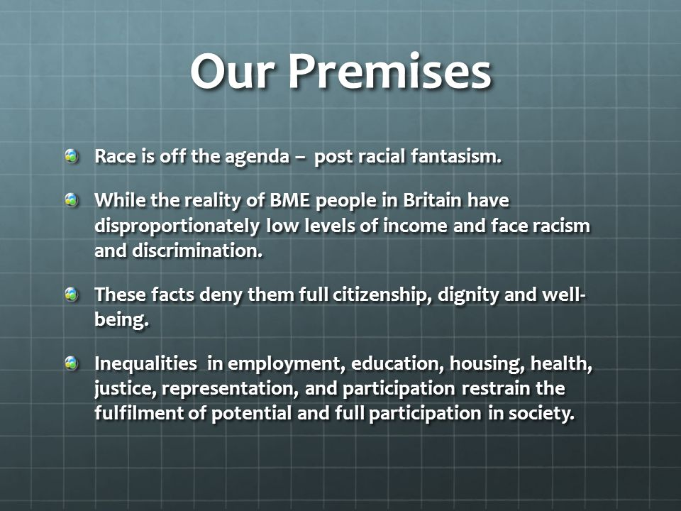 Our Premises Race is off the agenda – post racial fantasism.