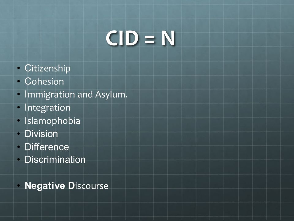 CID = N Citizenship Cohesion Immigration and Asylum. Integration