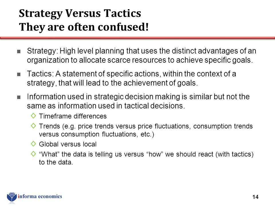 Strategy Versus Tactics They are often confused!