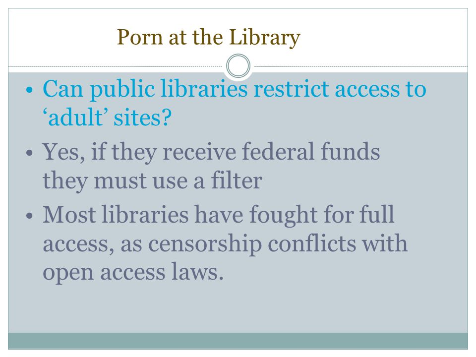 Can public libraries restrict access to 'adult' sites