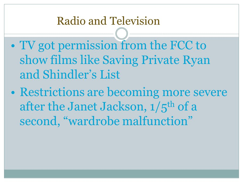 Radio and Television TV got permission from the FCC to show films like Saving Private Ryan and Shindler's List.