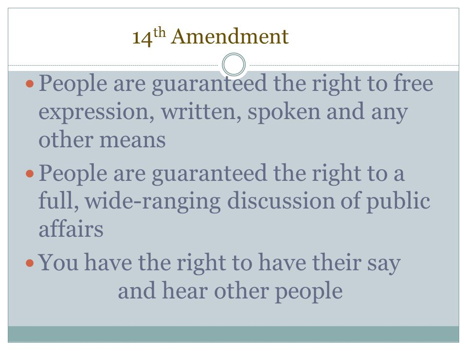You have the right to have their say and hear other people