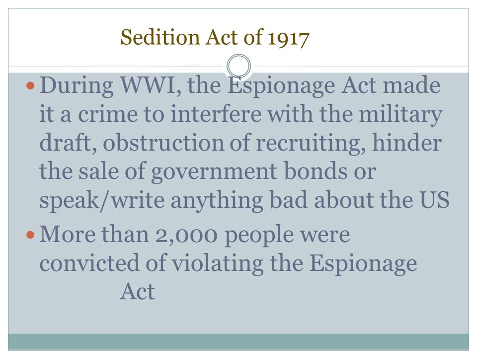 More than 2,000 people were convicted of violating the Espionage Act