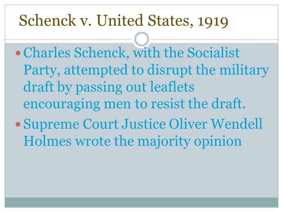 Schenck v. United States, 1919