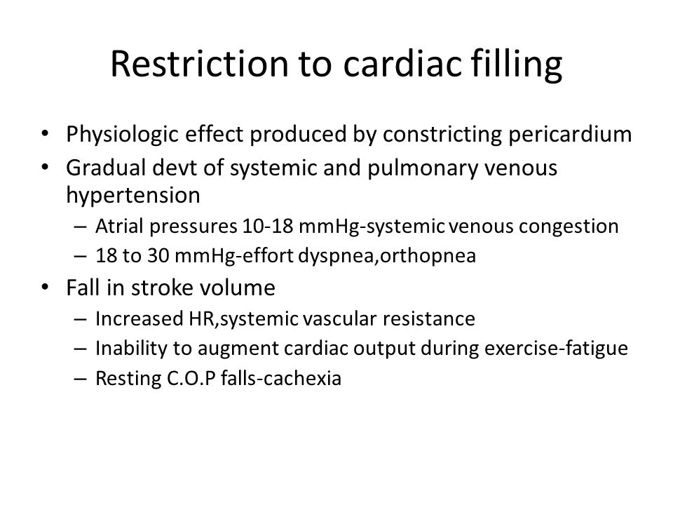 Restriction to cardiac filling