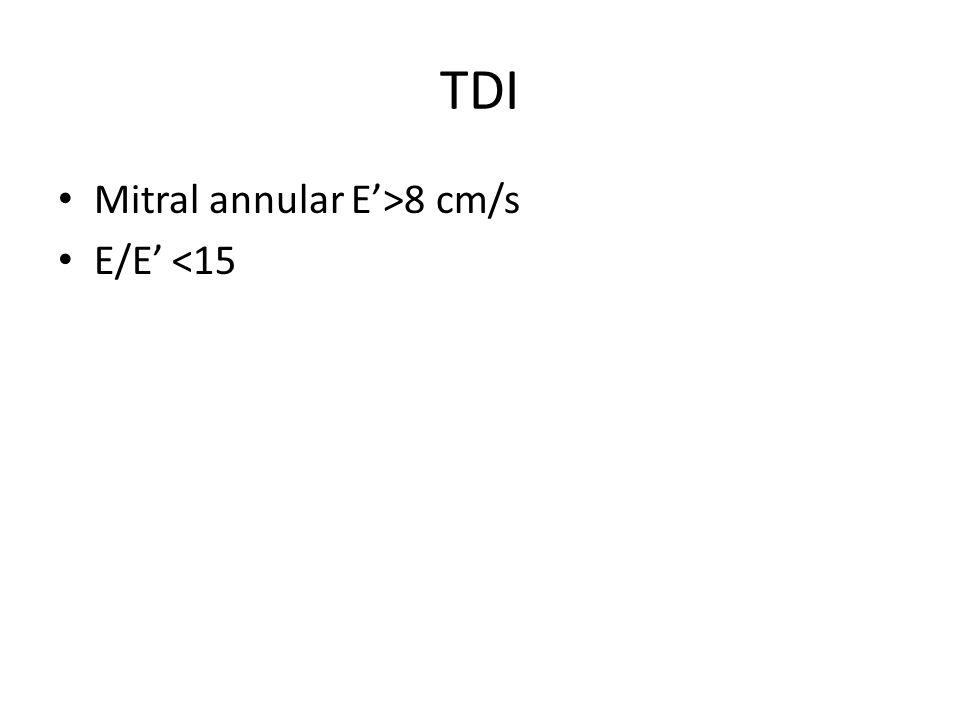 TDI Mitral annular E'>8 cm/s E/E' <15