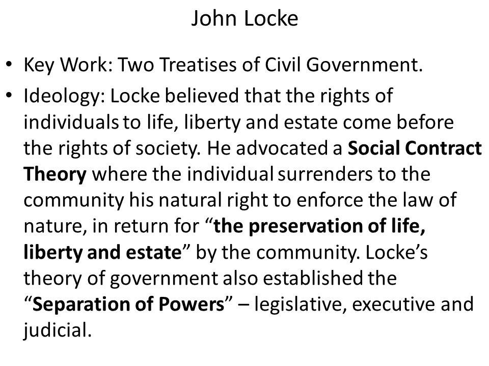John Locke Key Work: Two Treatises of Civil Government.