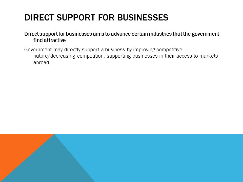 Direct Support for Businesses
