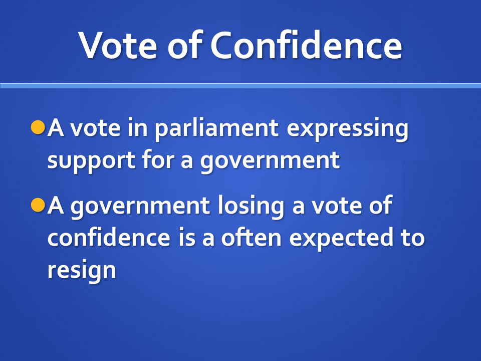 Vote of Confidence A vote in parliament expressing support for a government.