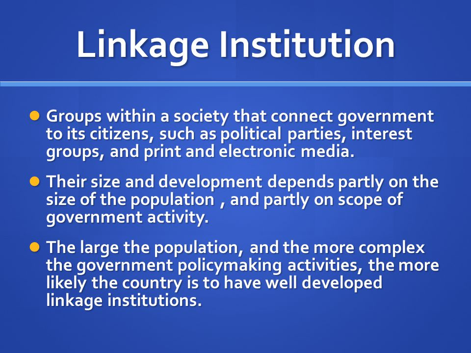 Linkage Institution