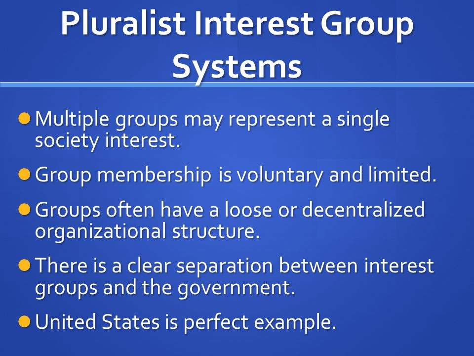 Pluralist Interest Group Systems