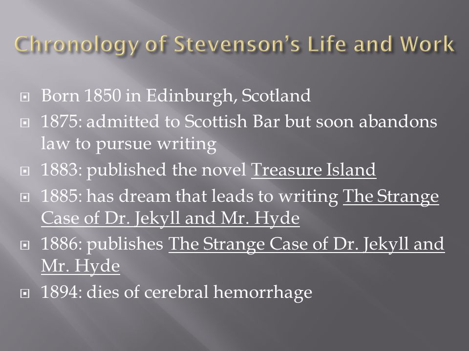 Chronology of Stevenson's Life and Work