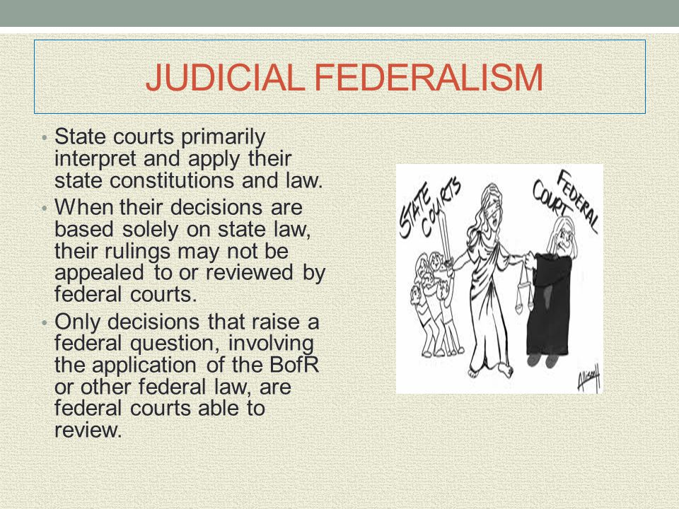 JUDICIAL FEDERALISM State courts primarily interpret and apply their state constitutions and law.