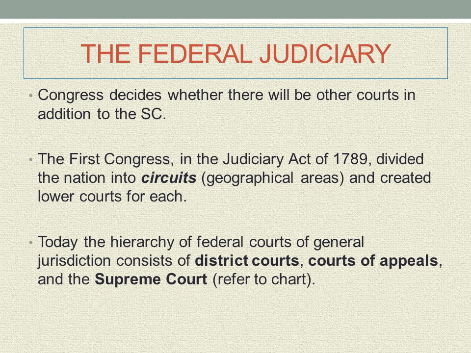 THE FEDERAL JUDICIARY Congress decides whether there will be other courts in addition to the SC.