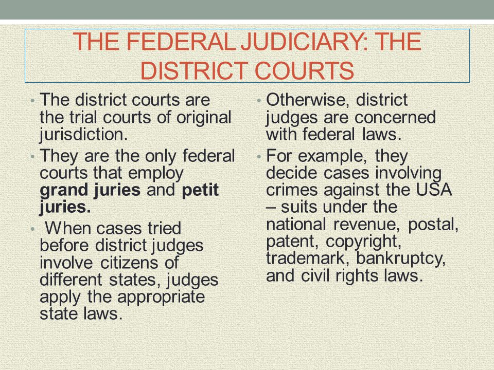 THE FEDERAL JUDICIARY: THE DISTRICT COURTS
