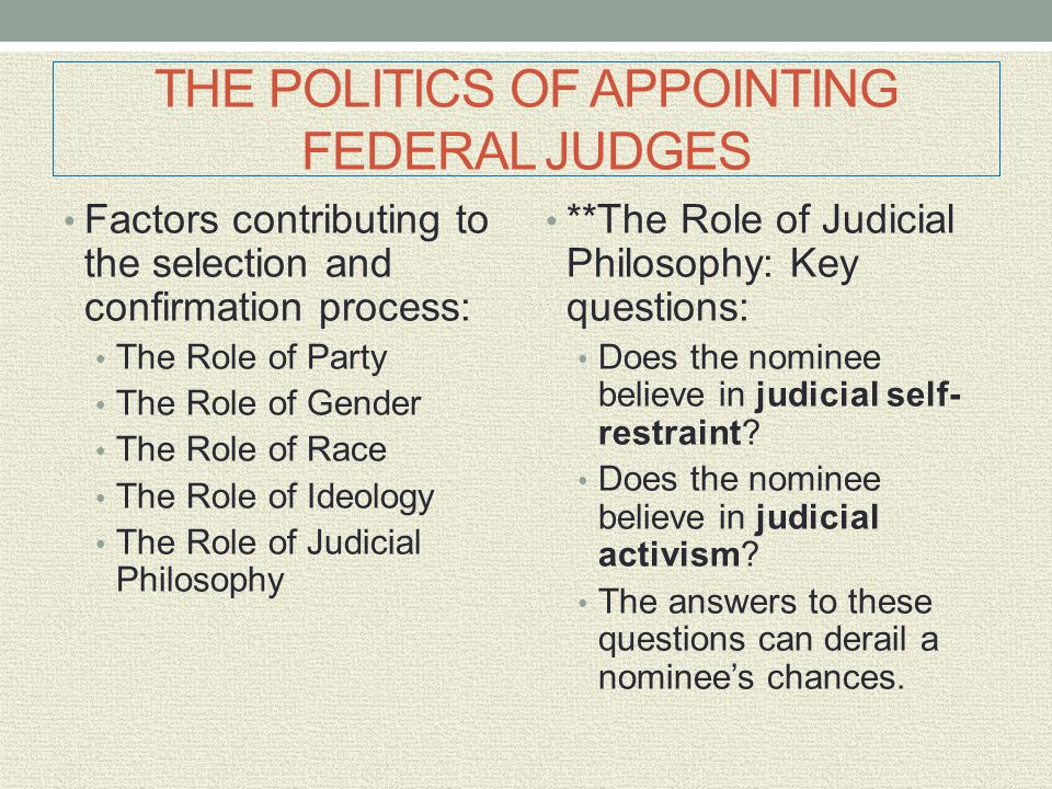 THE POLITICS OF APPOINTING FEDERAL JUDGES