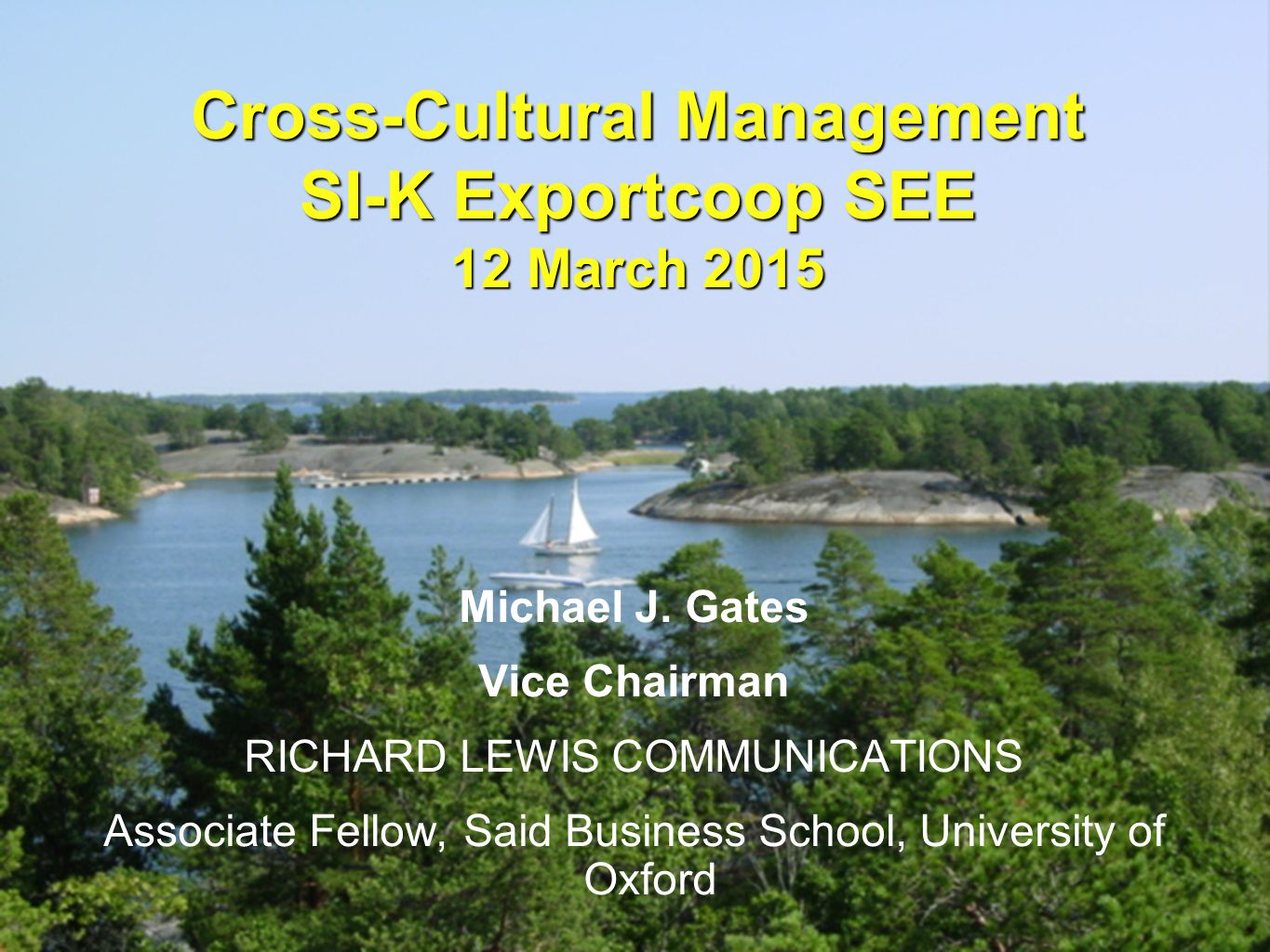 Cross-Cultural Management SI-K Exportcoop SEE 12 March 2015