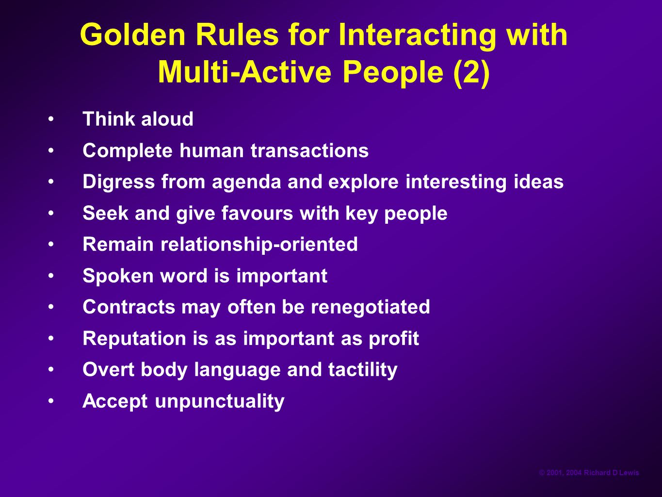 Golden Rules for Interacting with Multi-Active People (2)