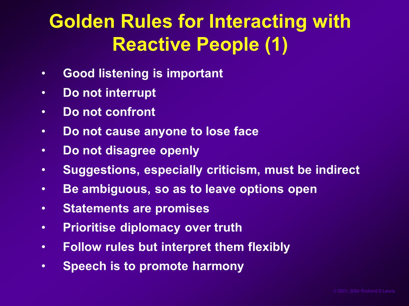 Golden Rules for Interacting with Reactive People (1)