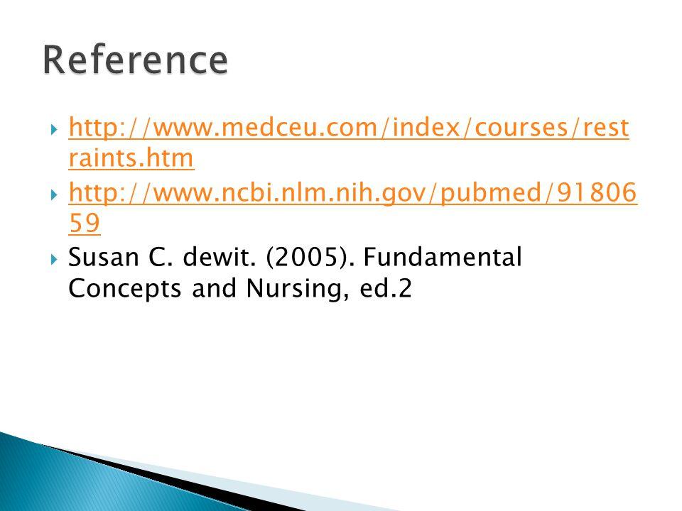Reference http://www.medceu.com/index/courses/rest raints.htm