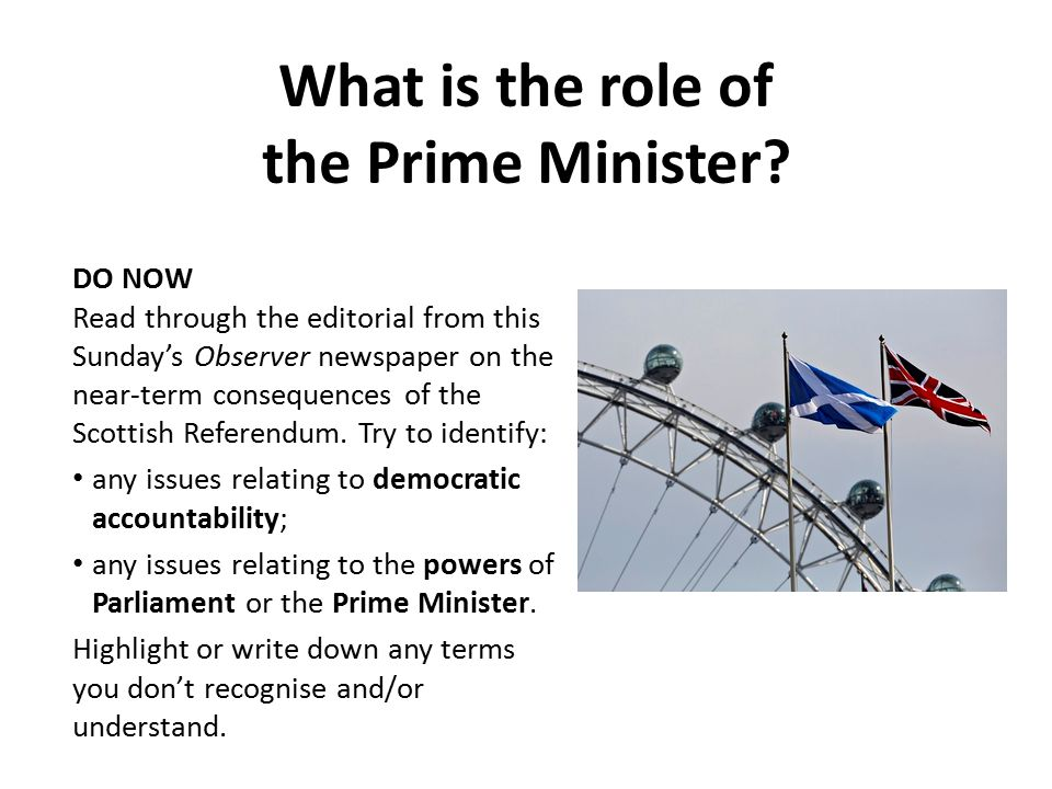 What is the role of the Prime Minister