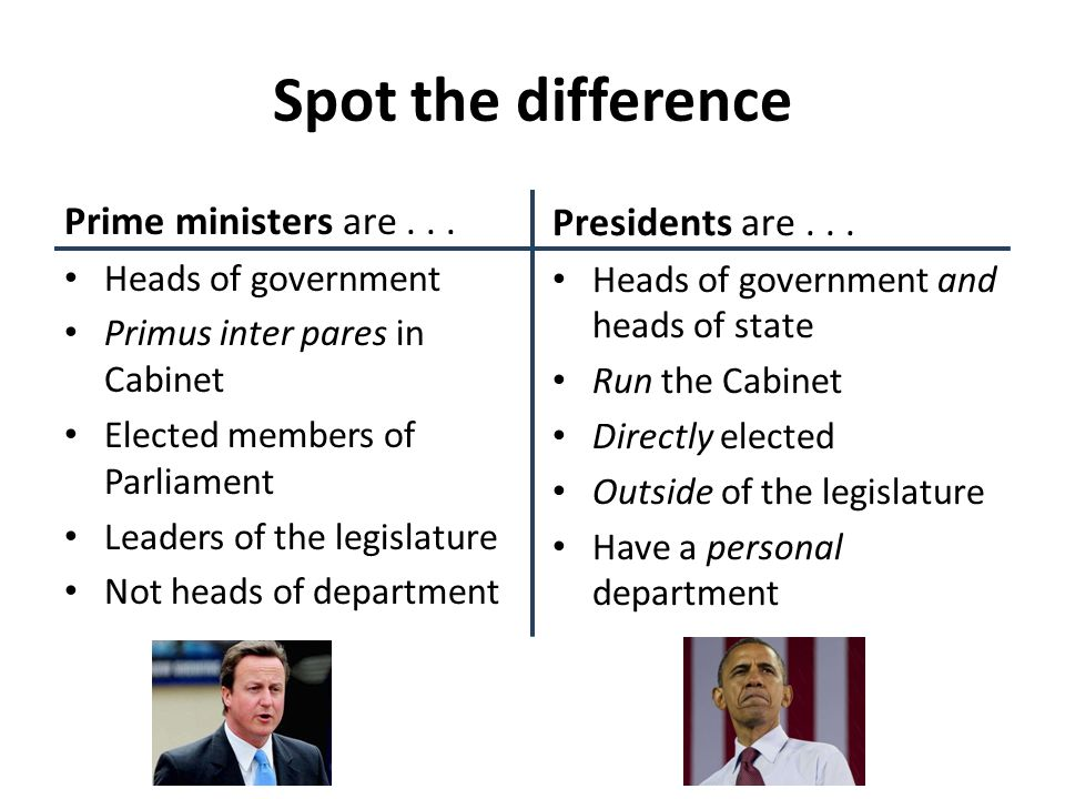 Spot the difference Prime ministers are . . . Presidents are . . .