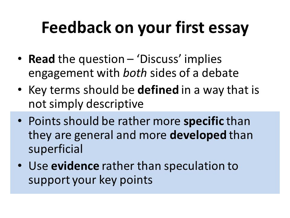 Feedback on your first essay