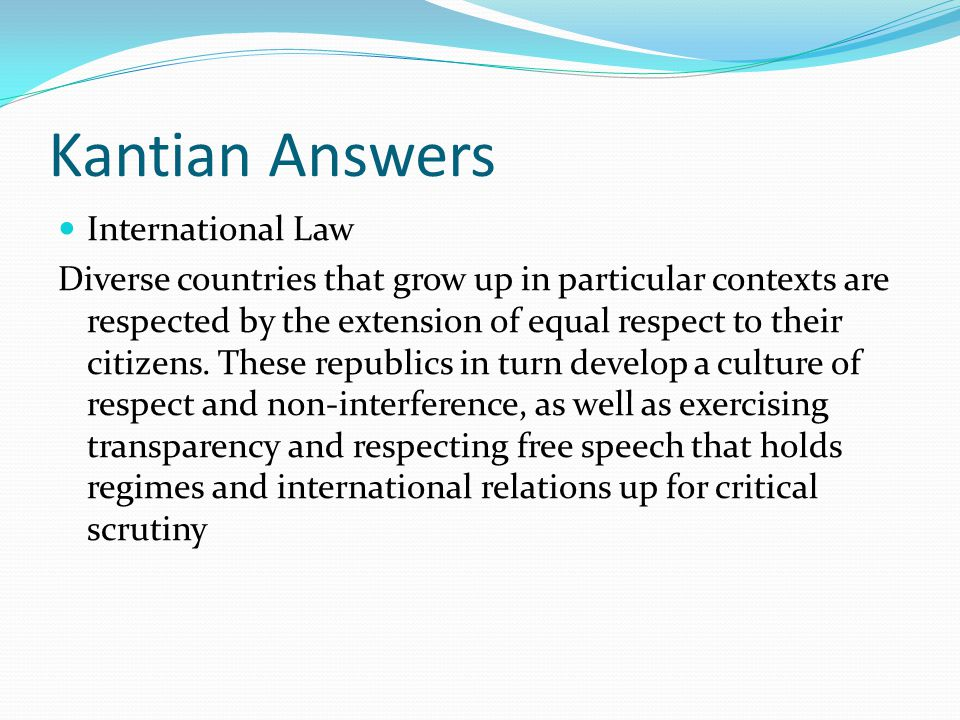 Kantian Answers International Law